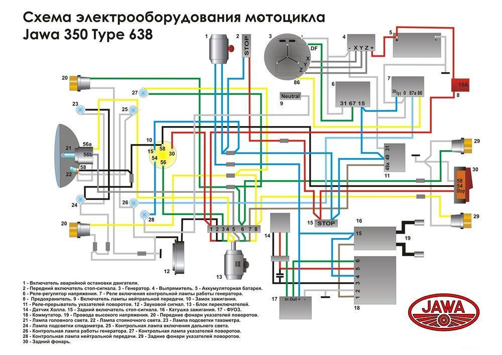 Каталог ява 638. Схема электрооборудования ява 638. Компания мото.