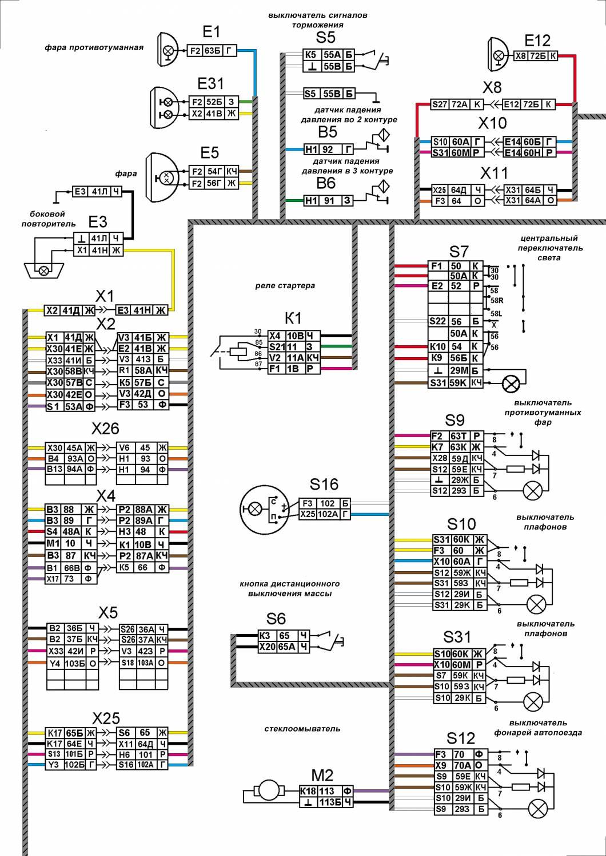 цветная электросхема камаз 65115