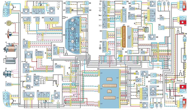 схема электрооборудование автомобиля ваз 21099